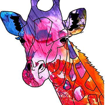 Cool Giraffe Abstract Art Painting Gift T-shirt by zcecmza