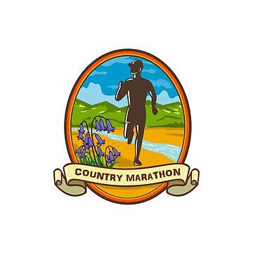 Country Marathon Run Oval Retro by patrimonio