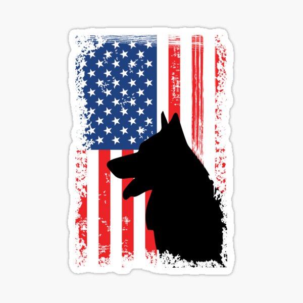 German Shepherd American Flag Shirt USA Patriotic Sticker