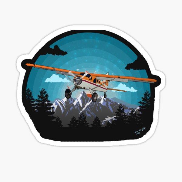 """Twilight Flight""   Bushplane Mountain Design Sticker"