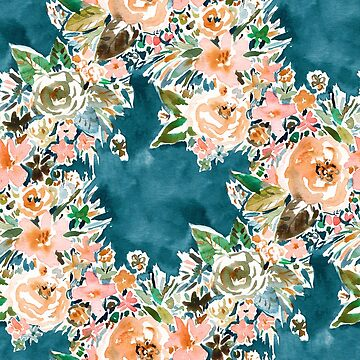 VELVET GARDEN Moody Teal Floral by Barbarian