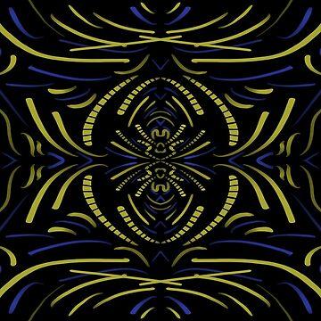 Abstract pattern blue and yellow by JohnyZero