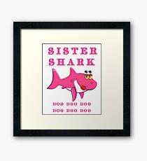 Schwester Shark doo doo doo Baby-Haifisch-Familie Gerahmtes Wandbild