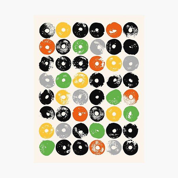 STARDISC, orange, green, yellow, black Photographic Print