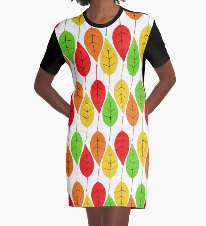 Cascading Autumn Leaves Graphic T-Shirt Dress