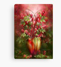 Bleeding Hearts In Heart Vase Canvas Print