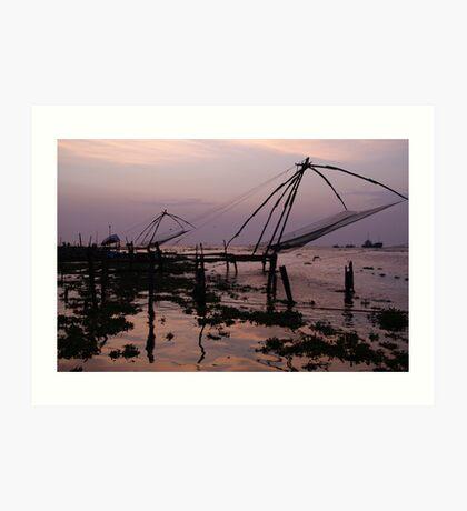 Fishing nets, Cochin Art Print