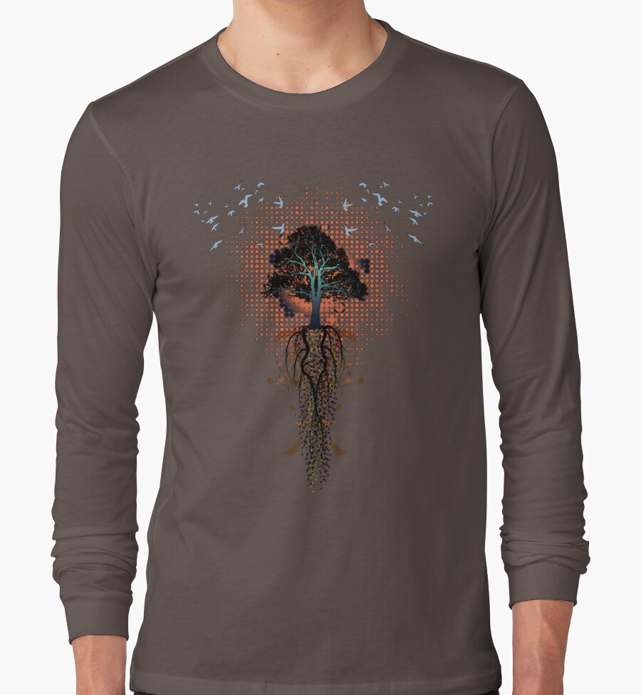 Design t shirt long sleeve - Bird Tree Roots Design By Eric Maki