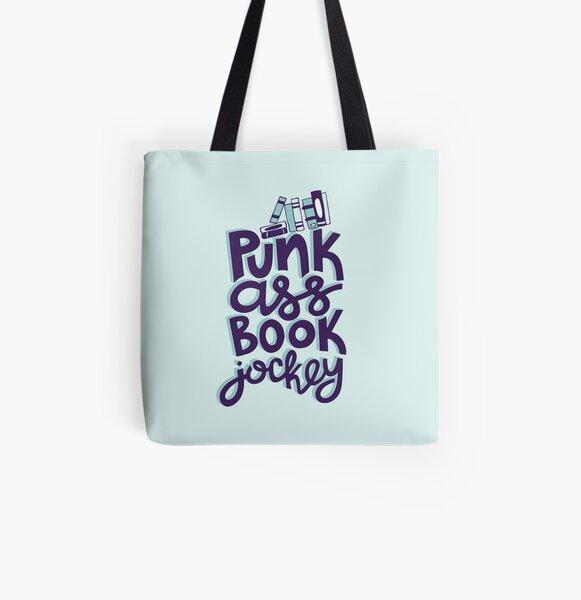 Punk Book Jockey Librarian Funny Design All Over Print Tote Bag