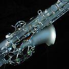 Satin Silver Saxophone on Black Velvet by Kathryn Jones