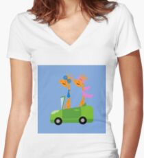 Giraffes and Car  Blue Women's Fitted V-Neck T-Shirt