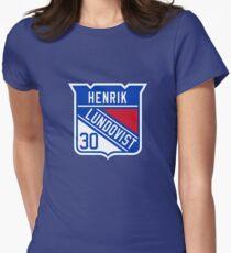Henrik Lundqvist New York Rangers Logo Women's Fitted T-Shirt
