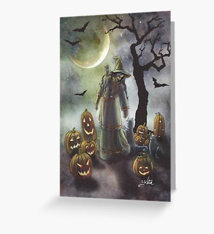 A witchy walk on a misty Halloween. Greeting Card