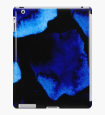 Watercolor Drama - navy blue watercolor stain on black iPad Case/Skin