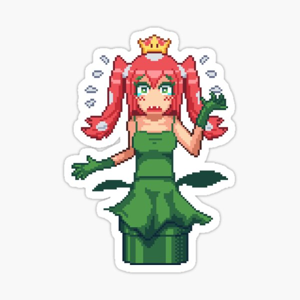 Princess Piranha Peach Pixel Art Sticker