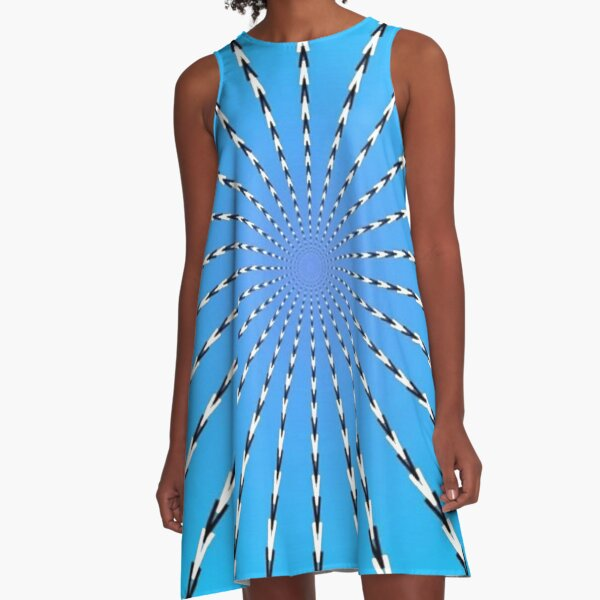 #abstract #blue #pattern #texture #design #retro #burst #illustration #wallpaper #rays #light #sun #ray #graphic #backdrop #grunge #white #art #vintage #line #color #fractal #paper #swirl #stripes A-Line Dress