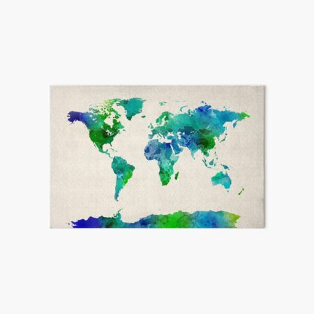 Watercolor Map of the World Map Art Board Print