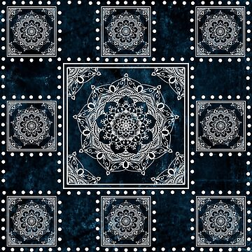 White Mandala Tiles On Blue by ImageMonkey