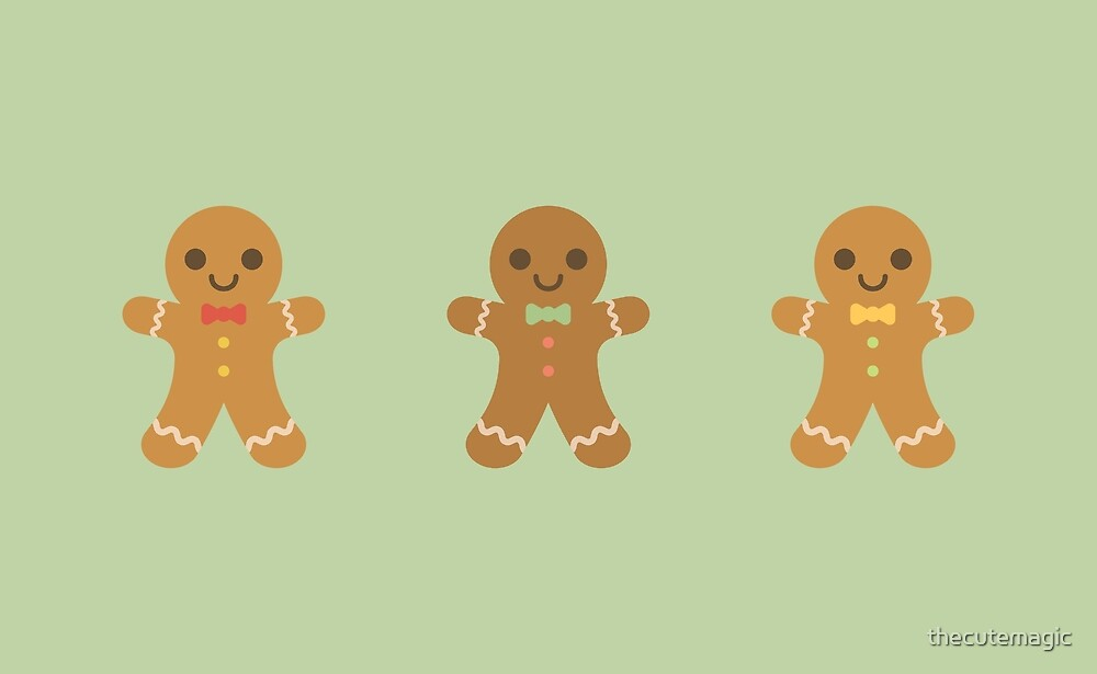 Cute Kawaii Gingerbread Men by thecutemagic