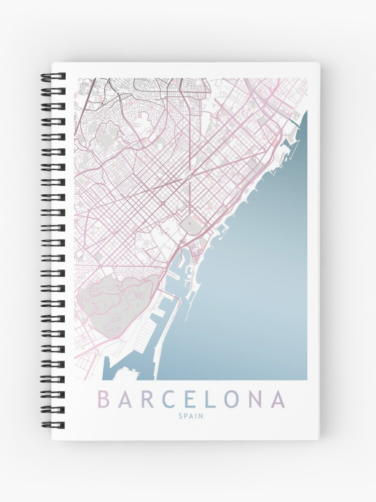Barcelona City Map Spain Europe Travel Traveler Gift Spiral Notebook By Theredfinch Redbubble