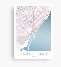 Barcelona City Map Spain Europe Travel, Traveler Gift  Canvas Print