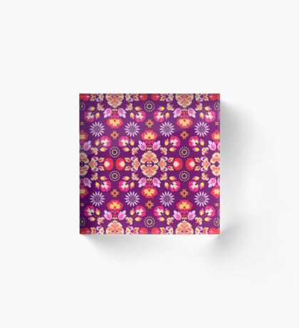 Fiesta Folk Purple #redbubble #folk Acrylic Block