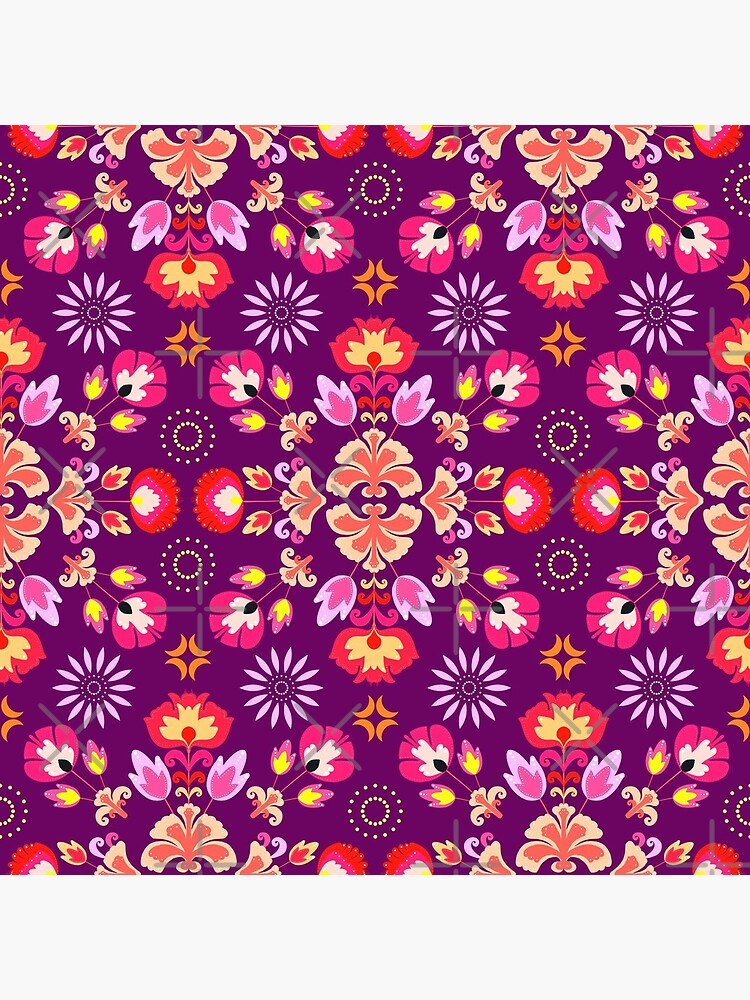 Fiesta Folk Purple #redbubble #folk by designdn