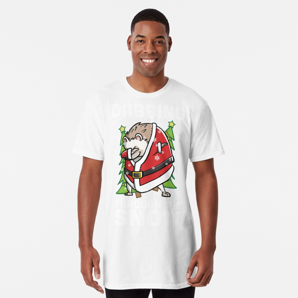 Funny Hedgehog Dabbing Through The Snow Dab Christmas Long T-Shirt