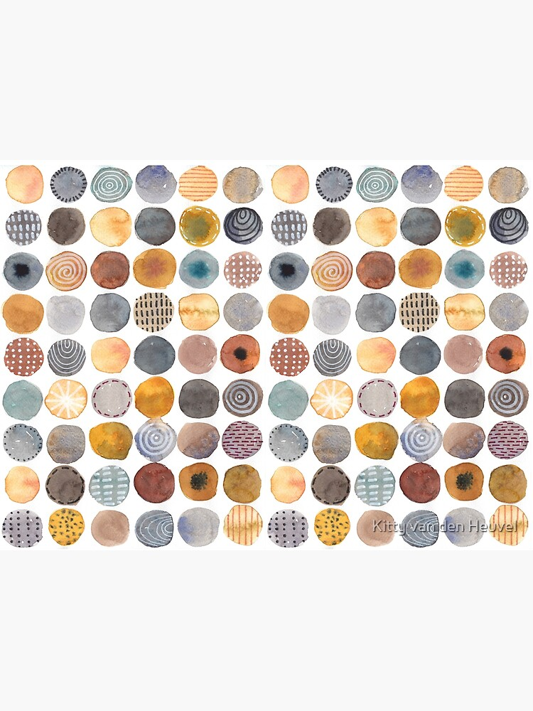 Neutrals circles rounds abstract watercolor painting by kittyvdheuvel