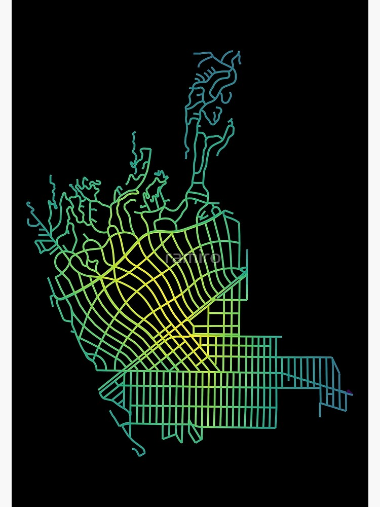 Beverly Hills, LA, USA Colored Street Network Map Graphic by ramiro