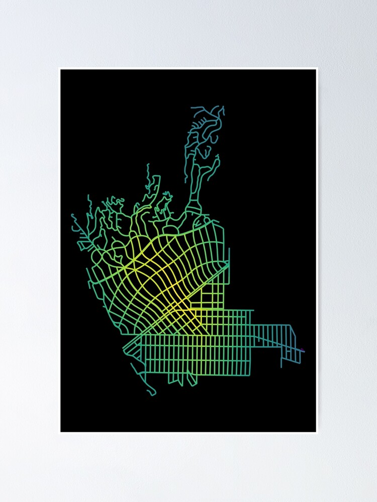 Alternate view of Beverly Hills, LA, USA Colored Street Network Map Graphic Poster