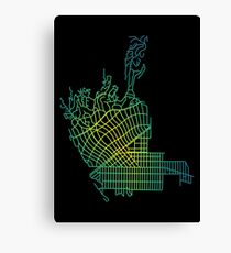 Beverly Hills, LA, USA Colored Street Network Map Graphic Canvas Print