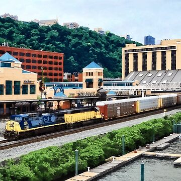 Pittsburgh PA - Freight Train Going By Station Square by SudaP0408