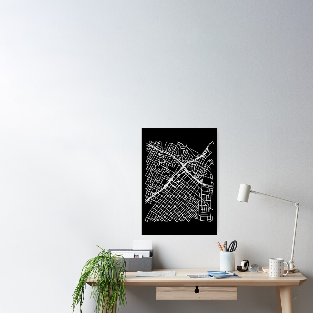 Bunker Hill, LA, USA Street Network Map Graphic Poster