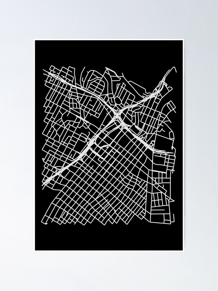 Alternate view of Bunker Hill, LA, USA Street Network Map Graphic Poster
