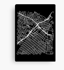 Bunker Hill, LA, USA Street Network Map Graphic Canvas Print