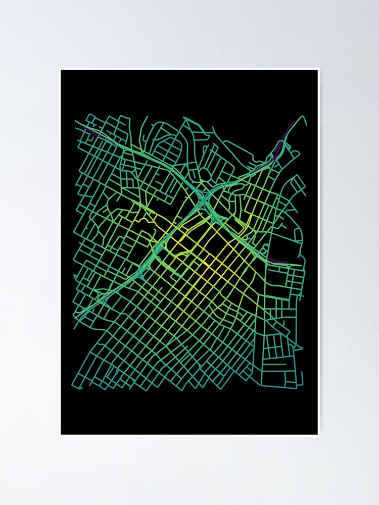 Alternate view of Bunker Hill, LA, USA Colored Street Network Map Graphic Poster