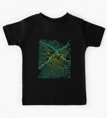 Bunker Hill, LA, USA Colored Street Network Map Graphic Kids Tee
