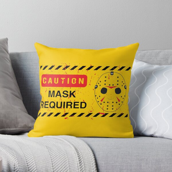 Caution Jason Land Throw Pillow