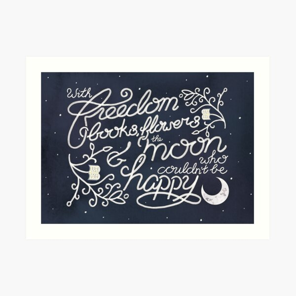Oscar Wilde Moon Books Quote Calligraphy Stars Art Print
