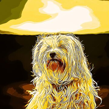 gxp hairy havanese dog vector art gold yellow by gxp-design