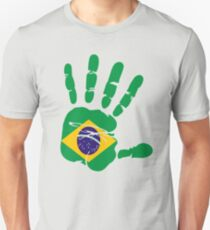 Flag of Brazil Handprint Unisex T-Shirt