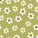 white flowers on light green by Stacey Oldham