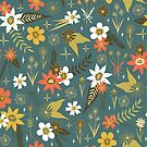 retro style floral pattern on blue by Stacey Oldham