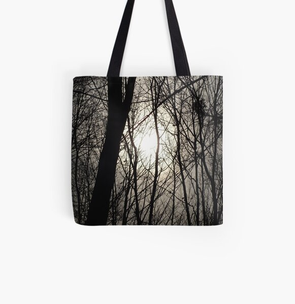 Trees in Shadow All Over Print Tote Bag