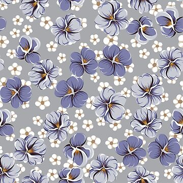 drawing of seamless pattern with viola flowers by amekamura