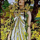 Woman in a Garden of Yellow Flowers by edsimoneit
