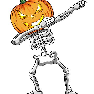 Dabbing Skeleton T shirt Halloween Pumpkin Head Gift Idea by HallelujahTees