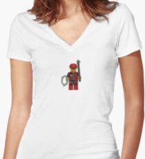 LEGO Climber with Ice Axe and Rope Women's Fitted V-Neck T-Shirt