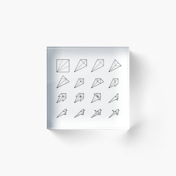 Origami Bird - Step by Step (Black) Acrylic Block